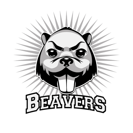 animal fight: Beaver  black and white retro syled head