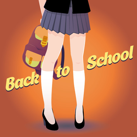 skirt: Japanese schoolgirl legs with bag and lettering Back to school in retro style. Good for a party poster. Illustration