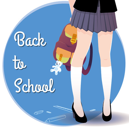 skirt: Japanese schoolgirl legs with bag with toy and lettering Back to school. Illustration