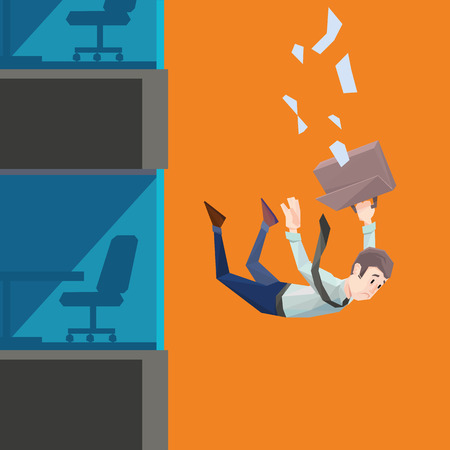 stock market crash: Polygon man in office wear with tie and case falls from a building