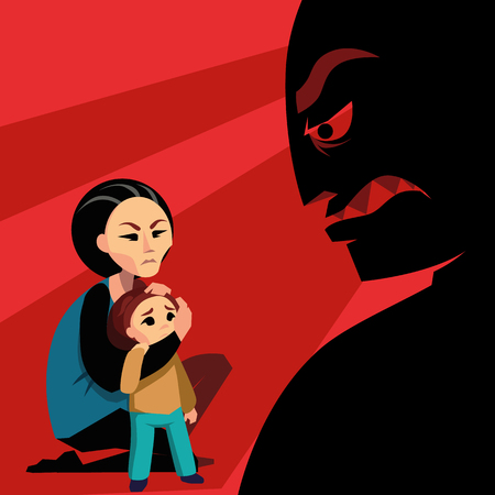 Woman hides the child from agressive male silhouette Illustration