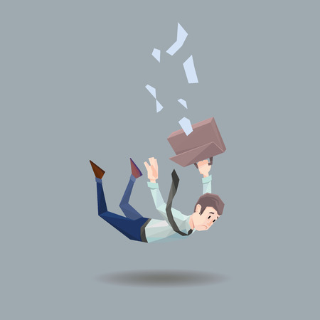 office wear: Polygon man in office wear with tie and case falls from a building on flat gray background Illustration