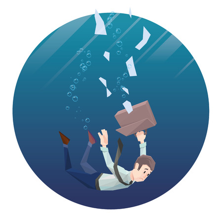 Polygon man in office wear with tie and case goes down under water. Round frame.