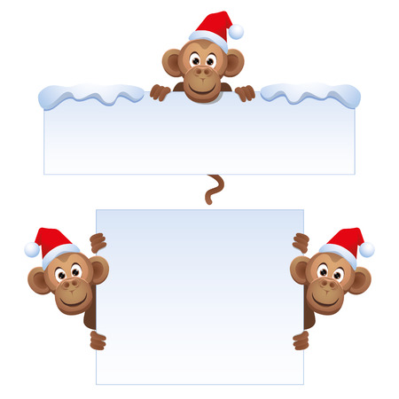 red head: Smiley monkey head in a Christmas red hat peeking from behind a blank banner. Top and side.