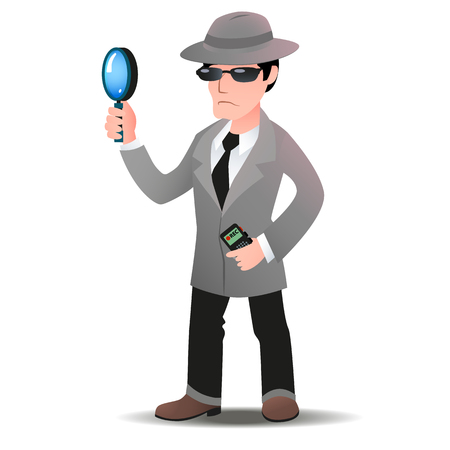 Mystery shopper man in spy coat, boots, tie, sunglasses and hat with magnifier and dictaphone. Full-length vector.