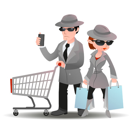 Mystery shopper man with shopping cart and mobile phone and woman with bags in sunglasses, spy coats and hats