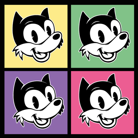 vintage toons. four images of retro cartoon character smiley woolf on the background colorful squares