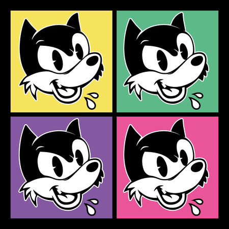 sarcastic: vintage toons. four images of retro cartoon character angry sarcastic shout woolf on the background colorful squares
