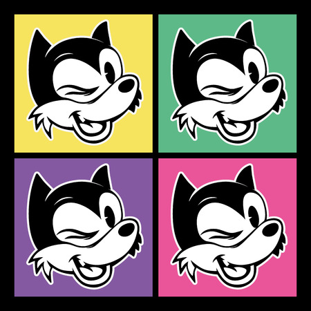 vintage toons. four images of retro cartoon character smiley and winks woolf on the background colorful squares