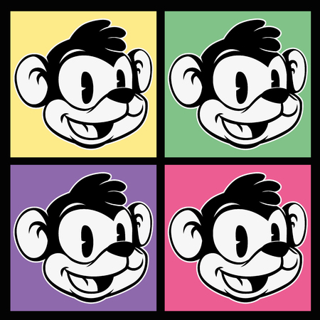 vintage toons. images of retro cartoon character smiley monkey on four different colorful background squares