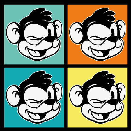 vintage toons. four images of retro cartoon character smiley and winks monkey on the background colorful squares