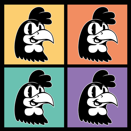Vintage cartoon. four images of smiling retro rooster character on the background colorful squares