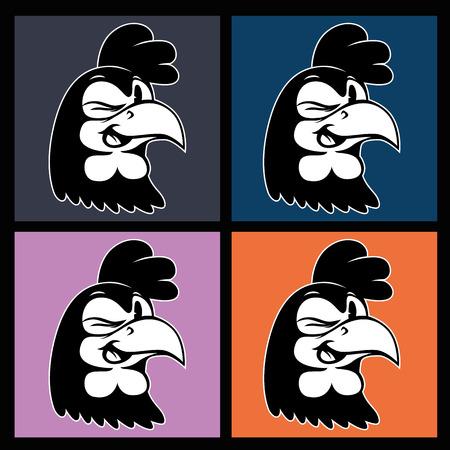 gallo: historieta de la vendimia. cuatro imágenes de la sonrisa y guiño carácter retro gallo en el fondo cuadrados de colores