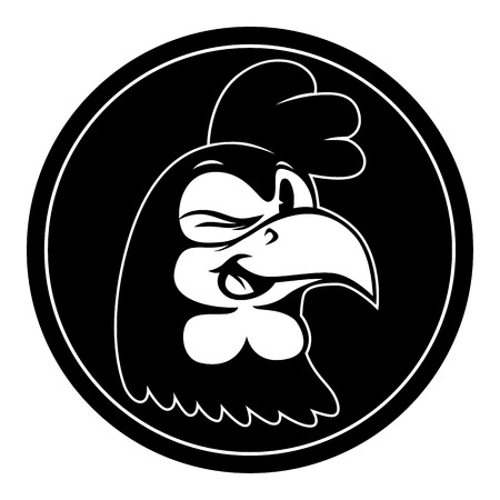 Vintage cartoon. Smiling and winking isolated retro cartoon rooster character in black circle. Ilustrace