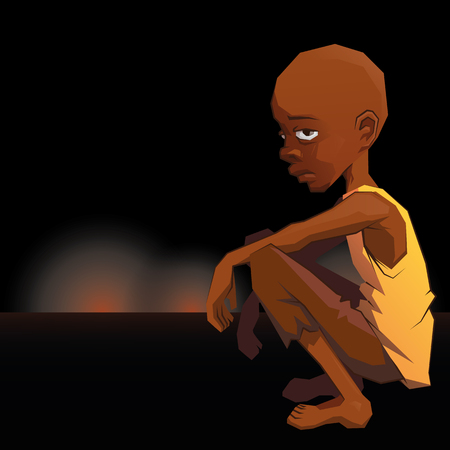 Sad African refugee child boy squatting in a poor dress against the backdrop of the war lightning