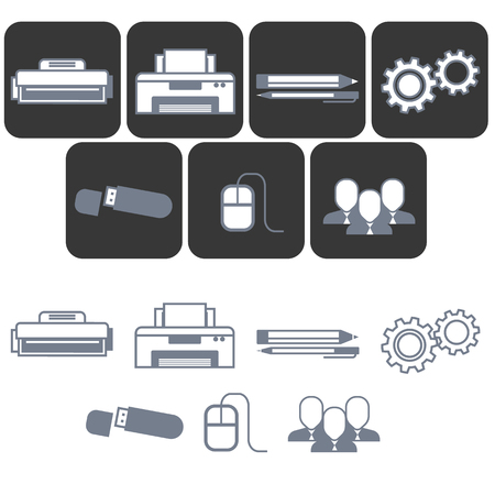 chancellery: Isolated flat icons for office equipment store on black and white background Illustration