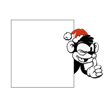 Smiley monkey head in a Christmas red hat peeking from behind a blank banner. Top and side.
