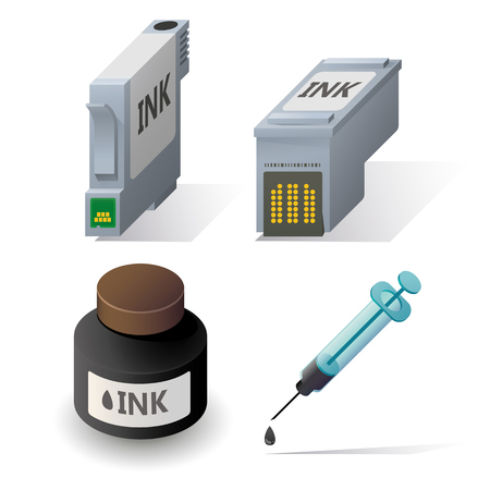 computer printer: Isometric ink cartriges refill icons set with shadows on white background.