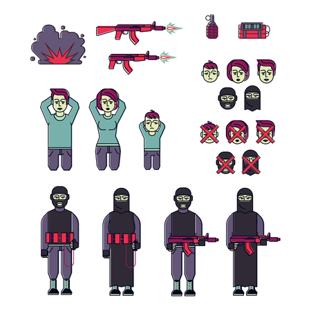victim war: Icon set of suicide bomber terrorists with weapons and victims, including a kneeling man, woman and child. Flat vector style. Illustration