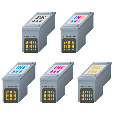 Color CMYK ink cartridges icons in isometric