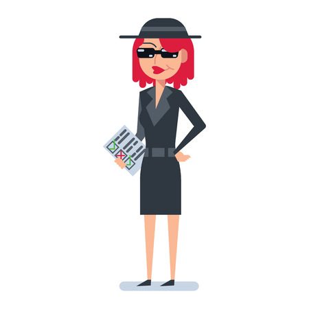 Mystery shopper woman in spy coat, boots, sunglasses and hat checklist. Full-length vector.