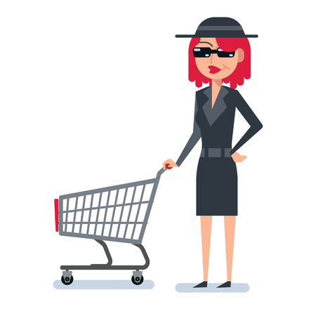 Mystery shopper woman in spy coat, boots, sunglasses and hat with hopping cart. Full-length vector.