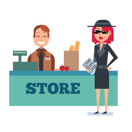 Mystery shopper woman in spy coat, sunglasses, hat and checklist checks grocery store. Full-length vector. Illustration