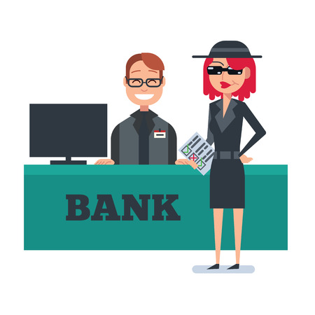 Mystery shopper woman in spy coat, sunglasses, hat and checklist checks bank. Full-length vector. Ilustrace