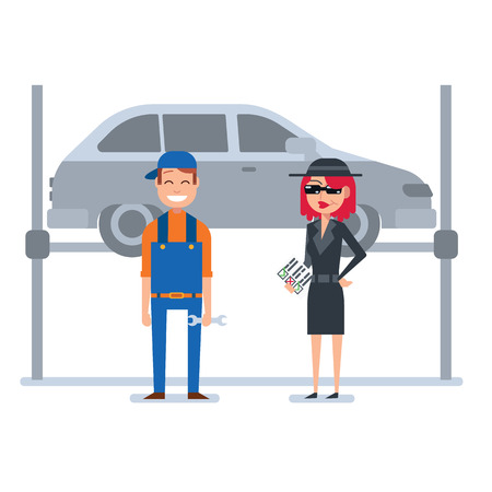 Mystery shopper woman in spy coat, sunglasses, hat and checklist checks car mechanic. Full-length vector.