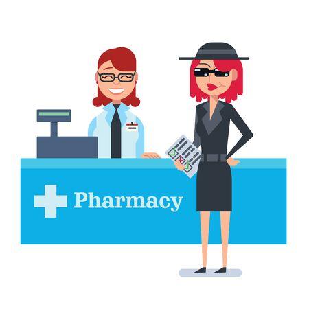 shoppers: Mystery shopper woman in spy coat, sunglasses, hat and checklist checks drugstore. Full-length vector.