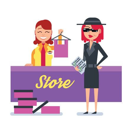 Mystery shopper woman in spy coat, sunglasses, hat and checklist checks clothing store. Full-length vector.