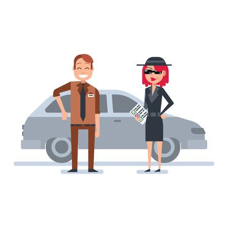 shoppers: Mystery shopper woman in spy coat, sunglasses, hat and checklist checks car dealer. Full-length vector.