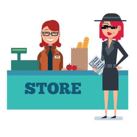 Mystery shopper vrouw in spion jas, zonnebril, hoed en checklist controleert supermarkt. Full-length vector. Vector Illustratie
