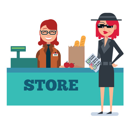 spy glass: Mystery shopper woman in spy coat, sunglasses, hat and checklist checks grocery store. Full-length vector. Illustration