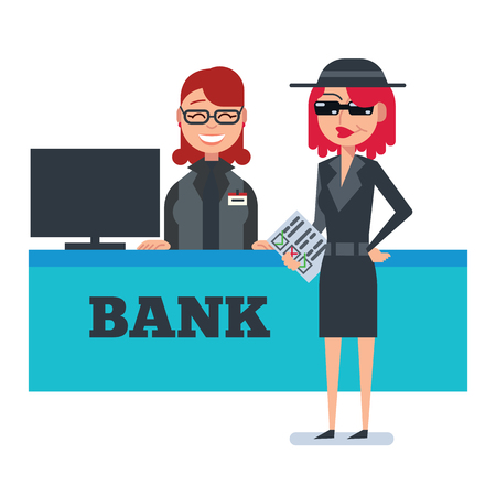 shoppers: Mystery shopper woman in spy coat, sunglasses, hat and checklist checks bank. Full-length vector. Illustration