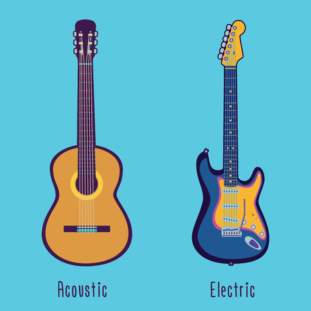 Isolated vector acoustic and electric guitar in color