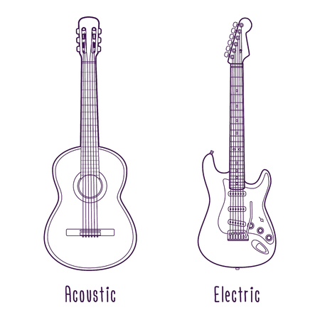 Isolated vector acoustic and electric guitar outline