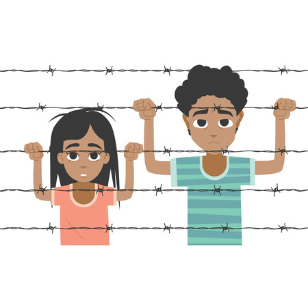 poor: Refugee boy and girl behind barbed wire on black background Illustration