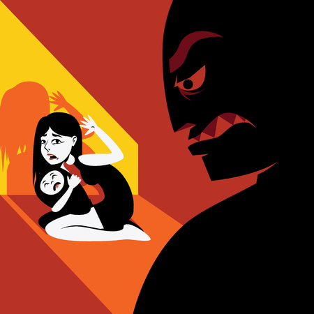 tyranny: Woman hides the child from agressive male silhouette Illustration
