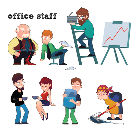 Funny characters of typical office staff set at work
