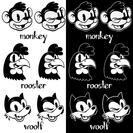 retro cartoon: Vintage cartoon. Smiling and winking retro cartoon monkey, rooster, woolf characters on black and white background.