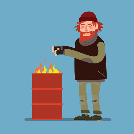 tramp: Sad homeless heated standing near barrel with fire. Flat style.