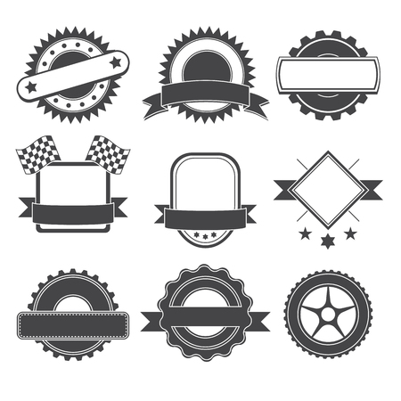 Set to create a  badge, emblem or element for mechanic, garage, car repair, auto service