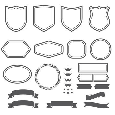 Set of vintage elements ribbons and emblem forms