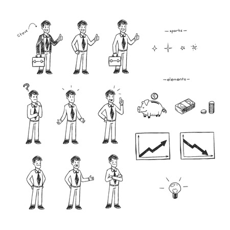 attainment: Hand drawn black and white illustration set for doodle animation. Businessman and finances.