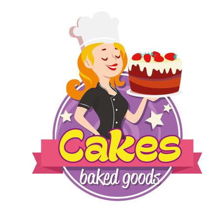 Vintage cartoon logo. Glimlachende vrouw, gekleed in een kok cap en met een aardbei taart met glazuur op een witte achtergrond