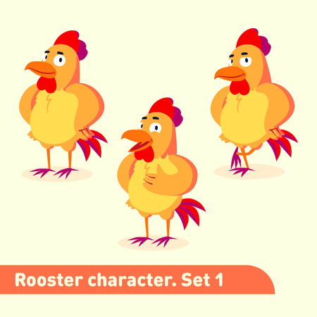 Vector illustrations set includes three standing poses of rooster character in cartoon style