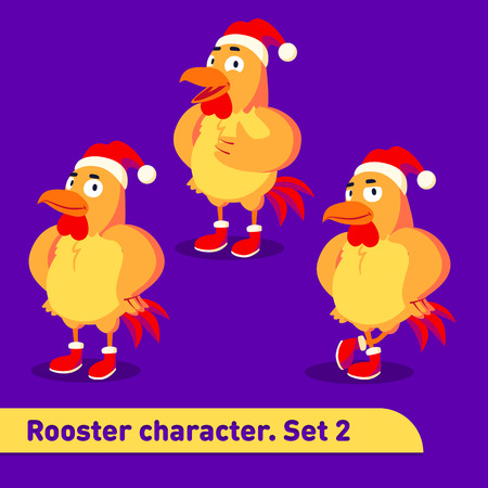 Vector illustrations set includes three standing poses of rooster character dressed in christmas suit in funny colorful cartoon style