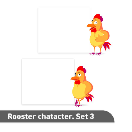 Vector illustrations set includes two standing poses of rooster character near white banner template in funny colorful cartoon style Ilustrace
