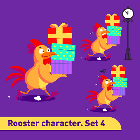 Vector illustrations set includes three running poses of rooster character with diffefent emotions carying three gift boxes in funny colorful cartoon style Ilustrace
